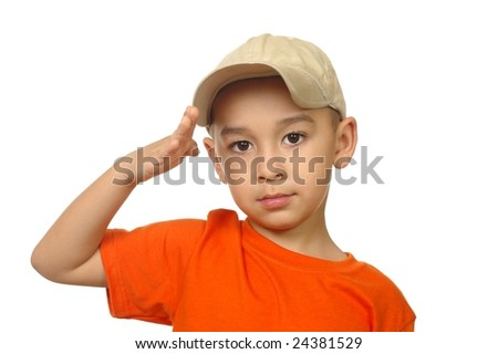 Five year old boy saluting, isolated on white - stock photo