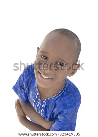 Five-year-old boy wearing a blue garment, isolated  - stock photo