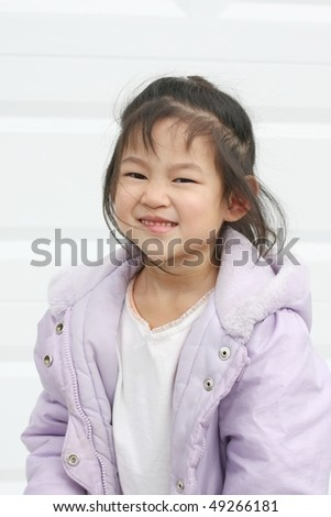 five-year-old girl on white background - stock photo