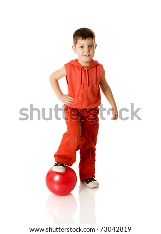 Five years Boy holding ball standing isolated on white - stock photo