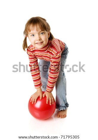 Five years girl holding ball isolated on white - stock photo