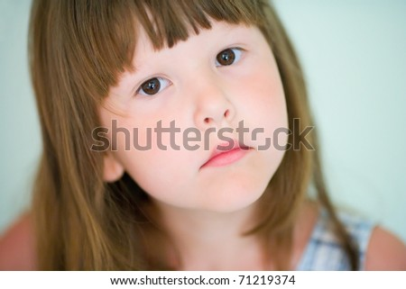 Five years girl with brown eyes closeup portrait - stock photo