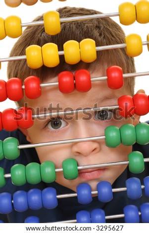 five years old boy with abacus close-ups - stock photo