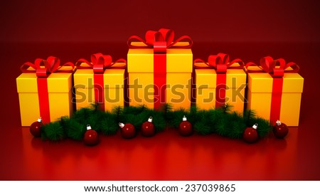 Five Yellow Gift Boxes with Christmas Decoration on Red Background. 3D Illustration  - stock photo