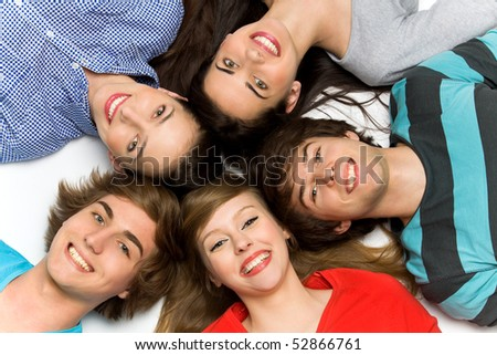 Five Young Teenagers - stock photo