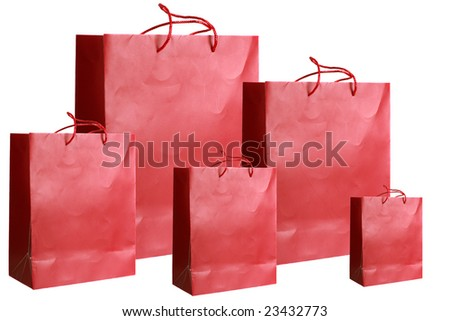 Fiver blank red paper bags over white background - stock photo
