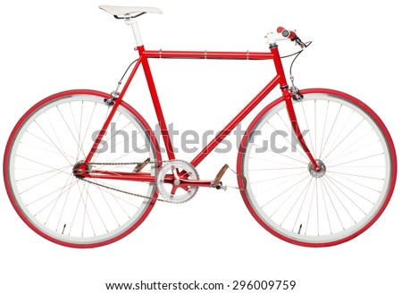 Fixed red city bike isolated on a white background. Modern hipster bike - stock photo