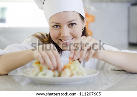 Fixing a dish before serving