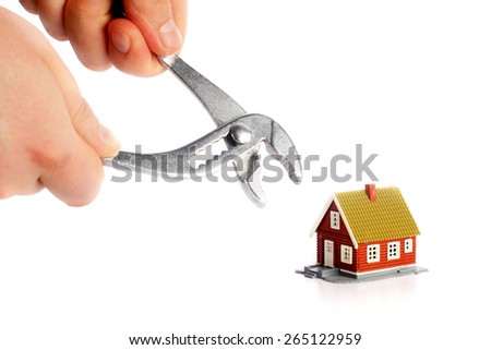 Fixing home concept. Isolated over white background. - stock photo