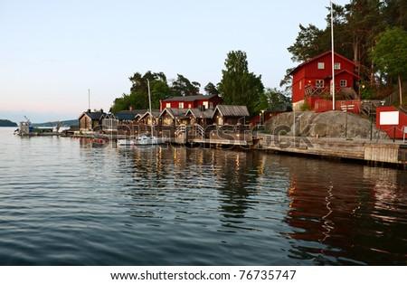 Fjaderholmarna (Stockholm's nearest archipelago islands) at white night. - stock photo