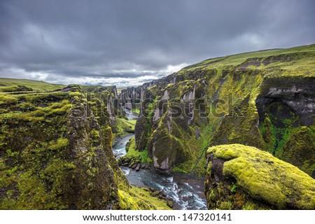 Fjadrargljufur Canyon, Iceland - stock photo