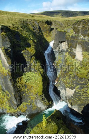 Fjadrargljufur canyon in southeast Iceland - stock photo
