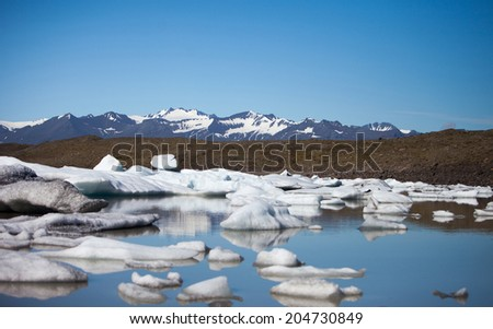 Fjallsarlon, glacier iceberg lagoon in Vatnajokull National Park, Iceland - stock photo