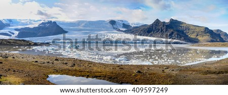 Fjallsarlon glacier lagoon at the Vatnajokull National Park, southeast Iceland - stock photo