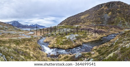 fjord in Norway in autumn - stock photo