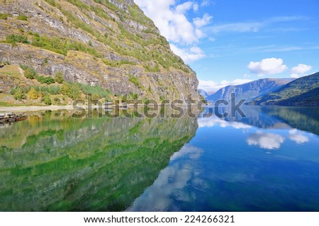 Fjord Naeroyfjord in Flam, Norway - UNESCO Site - nature and travel background - stock photo