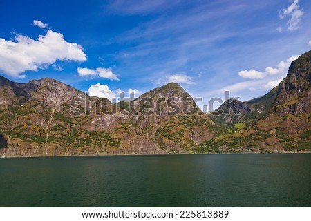 Fjord Naeroyfjord in Norway - UNESCO Site - nature and travel background - stock photo