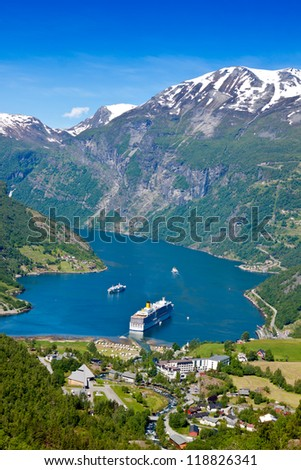 fjord, Norway with cruise ship - stock photo