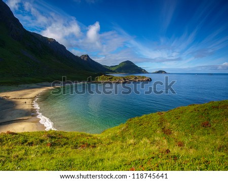 fjord reflection in Norway - stock photo