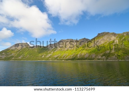 Fjord shore in Norway - stock photo