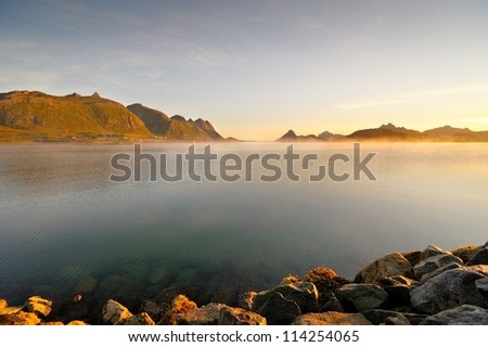 Fjord shore in Norway - Islands in northern Norway - stock photo