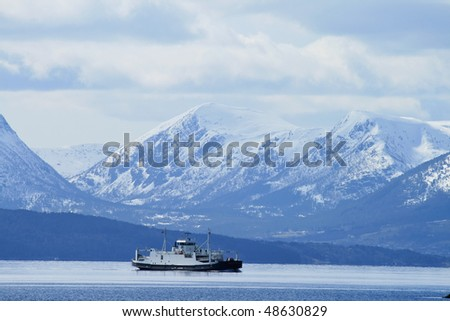 fjords and mountains of Norway - stock photo