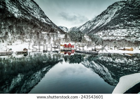 fjords. high mountains on twilights in Norway, winter - stock photo