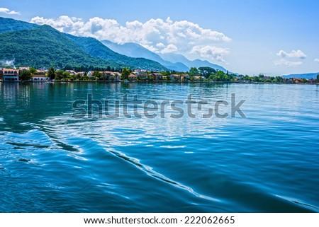 Fjords. Sea view on mountains - stock photo