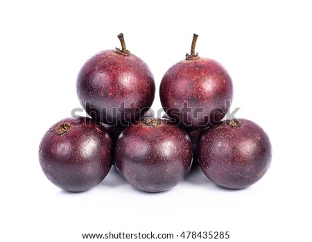 Flacourtia fruit on white background