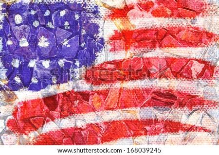 flag America brick wall background - stock photo