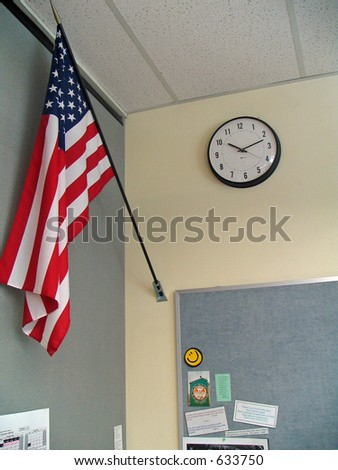 Flag and Clock - stock photo
