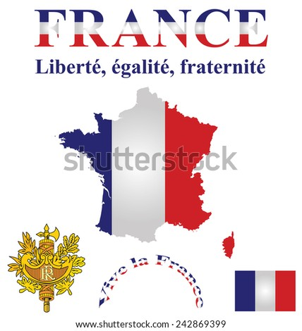 Flag and coat of arms of the French Republic overlaid on detailed outline country map isolated on white background motto Liberty Equality Fraternity - stock photo