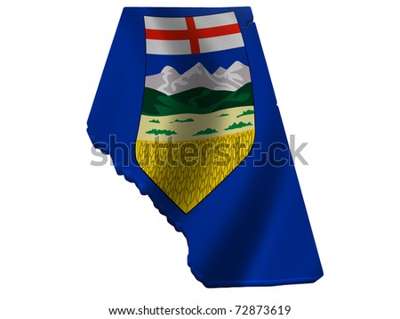 Flag and map of Alberta - stock photo