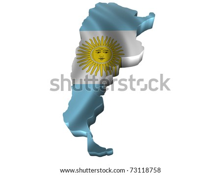 Flag and map of Argentina - stock photo