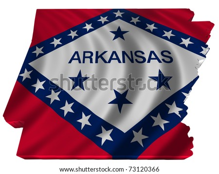 Flag and map of Arkansas - stock photo