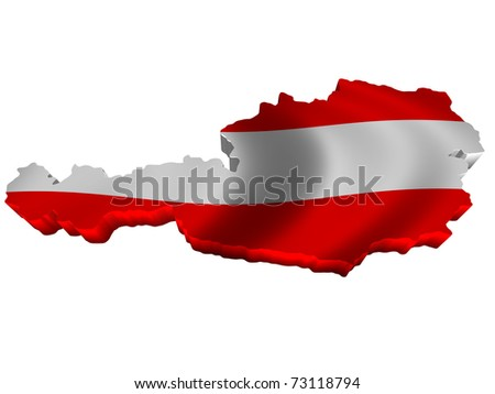 Flag and map of Austria - stock photo