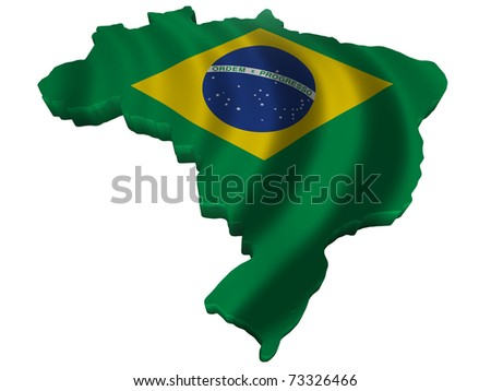 Flag and map of Brazil - stock photo