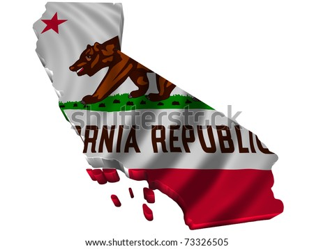Flag and map of California - stock photo