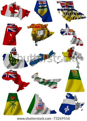 Flag and map of Canada - stock photo