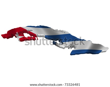 Flag and map of Cuba - stock photo