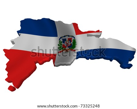 Flag and map of Dominican Republic