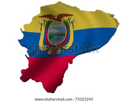 Flag and map of Ecuador - stock photo