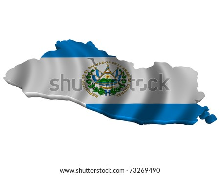 Flag and map of El Salvador - stock photo