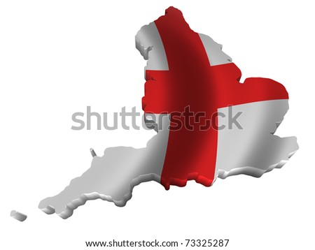 Flag and map of England - stock photo