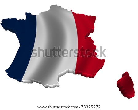 Flag and map of France - stock photo