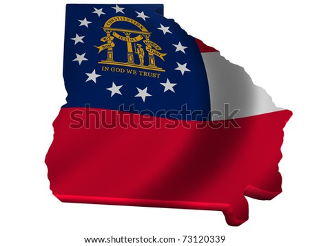 Flag and map of Georgia - stock photo