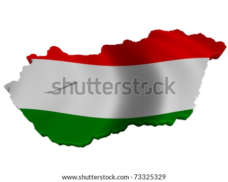 Flag and map of Hungary - stock photo