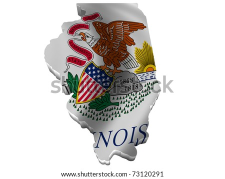 Flag and map of Illinois - stock photo