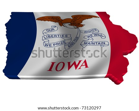 Flag and map of Iowa - stock photo