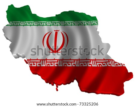 Flag and map of Iran - stock photo